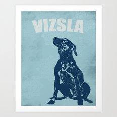 Vizsla Dog in Floral design  Art Print