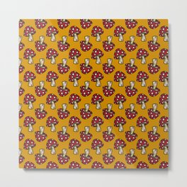 Midnight Fall Toadstools on Mustard Yellow Metal Print