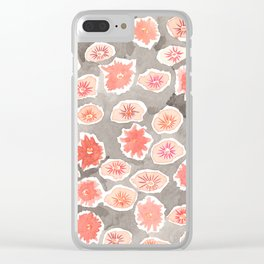 Watercolor flowers pink and gray by robayre Clear iPhone Case
