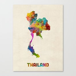 Thailand Watercolor Map Canvas Print