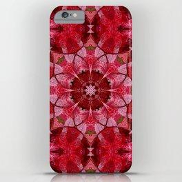 Red autumn leaves kaleidoscope - Cranberrybush Viburnum iPhone Case