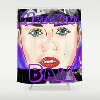 miley cyrus Shower Curtains featuring Miley cyrus - Wrecking Ball  by Jonboistars