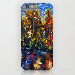 Autumn Forest River  (Palette Knife) iPhone Case