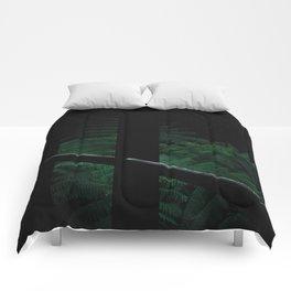 Secret Dark Japanese Garden Comforters