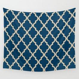 Moroccan Quatrefoil Pattern: Dark Blue & Beige Wall Tapestry