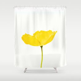 Yellow Poppy White Background #decor #society6 #buyart Shower Curtain
