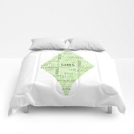Sims Plumbob Typography Comforters