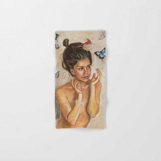 Girl with butterflies Hand & Bath Towel