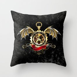 Steampunk Clock with Dragon Wings Throw Pillow