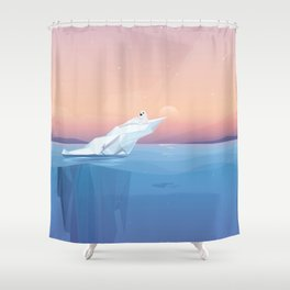 Harp seal on a melting iceberg in the arctic ocean under sunset Shower Curtain