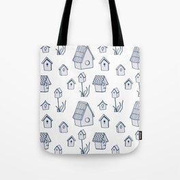 Bird House Drawings, Pattern Tote Bag