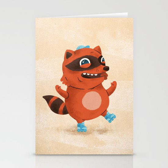 Rollerblade Raccoon Stationery Cards