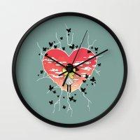 butterflies Wall Clocks featuring Butterflies by Freeminds