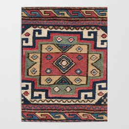 Cowboy Sumakh // 19th Century Colorful Red White Blue Western Lone Star Dallas Ornate Accent Pattern Poster
