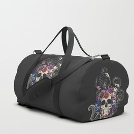 Colorful floral sugar skull with flowers and black raven Duffle Bag