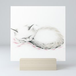 Cat Sleeping on a Pink Blanket Mini Art Print