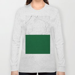 emerald green and white marble Long Sleeve T-shirt