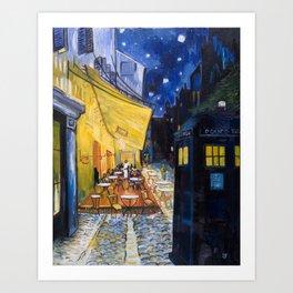 Vincent's Café with TARDIS Art Print