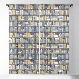 Book Case Pattern - Blue Yellow Sheer Curtain