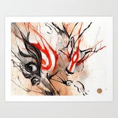 Okami Amaterasu Ink Art Print