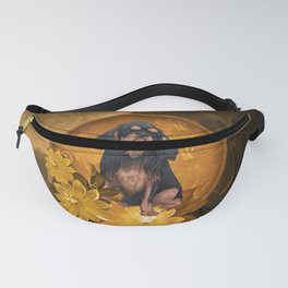 Cute spaniel with flowers Fanny Pack