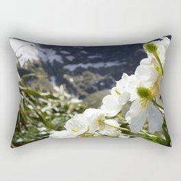 White Flowers and Mountain Pass (Milford Sound) Rectangular Pillow