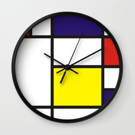 Colorful composition no.3 Mondrian Wall Clock