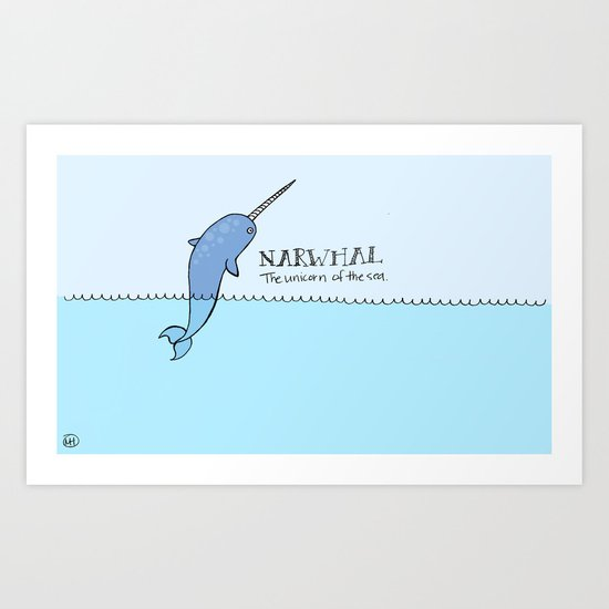 Narwhal (Unicorn of the Sea) Art Print