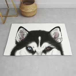 Husky different eyes Rug