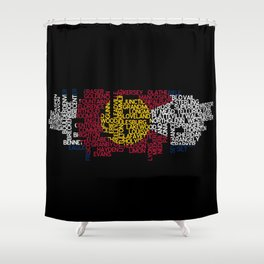 Colorado Cities in Flag Shower Curtain