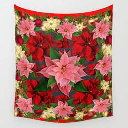 DECORATIVE  RED & PINK POINSETTIAS CHRISTMAS ART Wall Tapestry