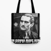 the godfather Tote Bags featuring Godfather by Org Mag
