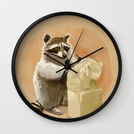 Raccoon in Pursuit of Perfection Wall Clock