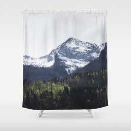 Winter and Spring - green trees and snowy mountains Shower Curtain