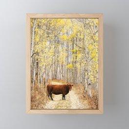 Cow in aspens Framed Mini Art Print