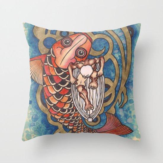 old fisherman Throw Pillow