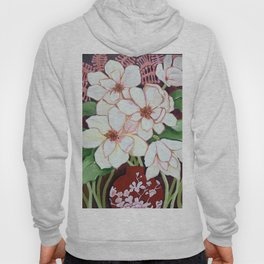 White Blooms in Red Vase Hoody