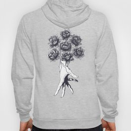 Hand with lotuses on black Hoody