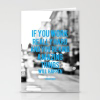 work hard Stationery Cards featuring Work Hard by ElloGovna
