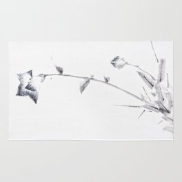 Japanese Ink Flower Blossom and Bud with Long Stalk Rug