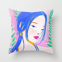Girl and Aroid Palm Throw Pillow
