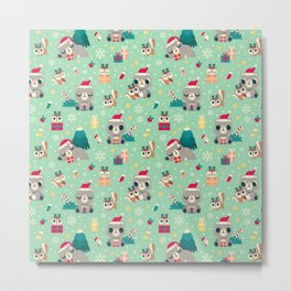 Holiday Woodland Animal Surface Pattern Design - Mint / Cute Animal Metal Print