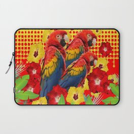 GREEN TROPICAL YELLOW MACAWS & RED YELLOW HIBISCUS Laptop Sleeve