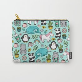 Narwhal and Friends, Emoji Tween Print, Pre-teen Girls, Unicorns, Panda, Llamas and Doughnuts Carry-All Pouch