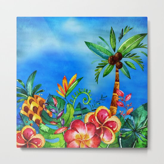 Exotic Colorful Flower Jungle - Aloha on #Society6 Metal Print