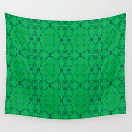 Green Floral Mosaic Pattern Wall Tapestry