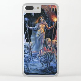 Two of Wands - Woman & Wolves Clear iPhone Case