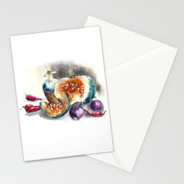 Watercolor harvest with vegetables, Thanksgiving Day Stationery Cards