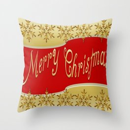 Red Merry Christmas Banner On Gold With Snowflakes  Throw Pillow