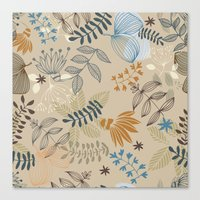 floral pattern Canvas Prints featuring Floral pattern by De Assuncao création